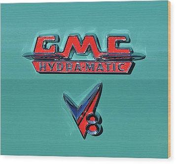 1955 Gmc Suburban Carrier Pickup Truck Emblem Wood Print by Jill Reger