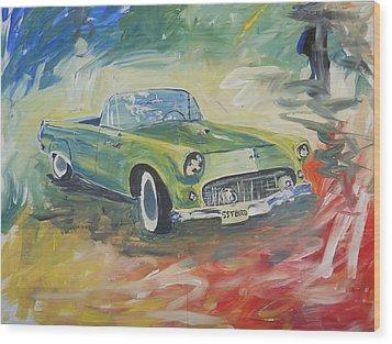 1955 Green Tbird Wood Print by Candace Nalepa