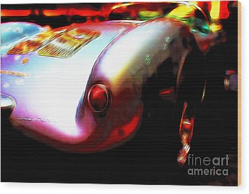 1955 Porsche 550 Rs Spyder . Color Sketch Style Wood Print by Wingsdomain Art and Photography