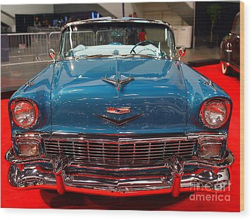 1956 Chevrolet Bel-air Convertible . Blue . 7d9246 Wood Print by Wingsdomain Art and Photography