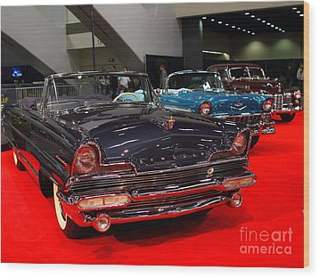 1956 Lincoln Premiere Convertible . Blue . 7d9244 Wood Print by Wingsdomain Art and Photography