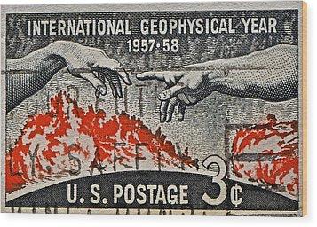 1957-1958 International Geophysical Year Stamp Wood Print