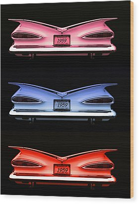 1959 Chevrolet Eyebrow Tail Lights Wood Print by Tim McCullough