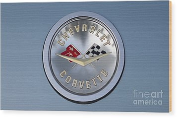 1959 Corvette Emblem Wood Print by Paul Ward