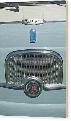1959 Fiat Multipia Hood Emblem Wood Print by Jill Reger
