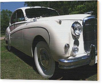 Wood Print featuring the photograph 1959 White Jaguar by Elizabeth Coats