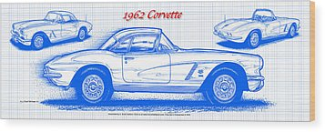 1962 Corvette Blueprint Wood Print