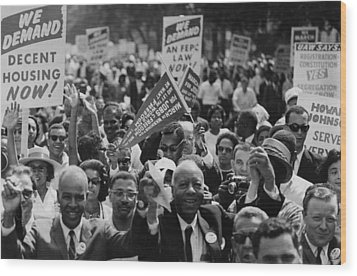 1963 March On Washington. Close-up Wood Print by Everett