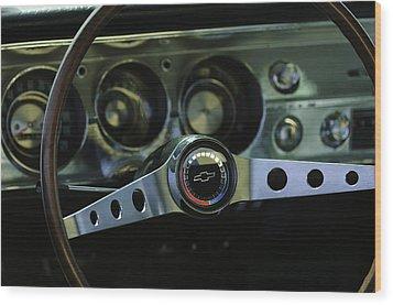 1965 Chevrolet Chevelle Malibu Ss Steering Wheel Wood Print by Jill Reger