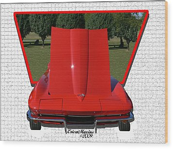 Wood Print featuring the photograph 1965 Corvette by EricaMaxine  Price