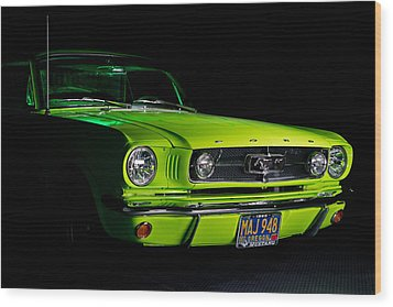 Wood Print featuring the photograph 1965 Ford Mustang by Jim Boardman