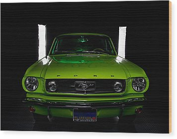 Wood Print featuring the photograph 1965 Mustang by Jim Boardman