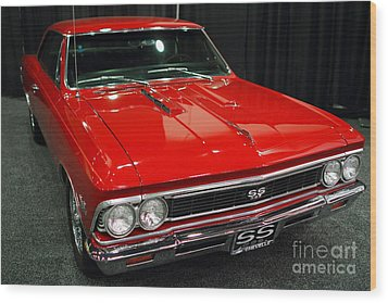 1966 Chevy Chevelle Ss 396 . Red . 7d9280 Wood Print by Wingsdomain Art and Photography