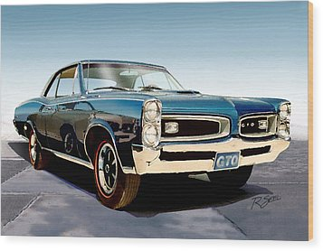 Wood Print featuring the painting 1966 Pontiac Gto by Rod Seel