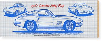 1967 Corvette Sting Ray Coupe Blueprint Wood Print by K Scott Teeters