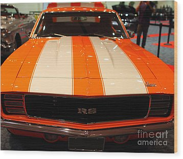 1969 Chevrolet Camaro 350 Rs . Orange With Racing Stripes . 7d9428 Wood Print by Wingsdomain Art and Photography