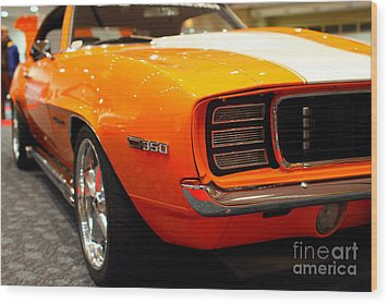 1969 Chevrolet Camaro 350 Rs . Orange With Racing Stripes . 7d9432 Wood Print by Wingsdomain Art and Photography