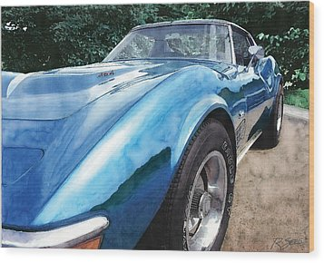 Wood Print featuring the painting 1972 Blue Corvette Stingray by Rod Seel