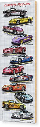 Wood Print featuring the drawing 1978 - 2008 Indy 500 Corvette Pace Cars by K Scott Teeters