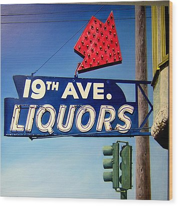 19th Ave Liquors Wood Print by Jim Gleeson