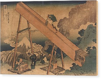 19th Century Japanese Print Shows Two Wood Print by Everett