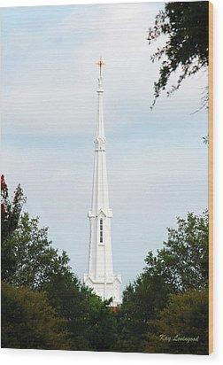 1st Christian Steeple Wood Print by Kay Lovingood