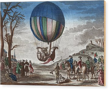 1st Manned Hydrogen Balloon Flight, 1783 Wood Print by Photo Researchers