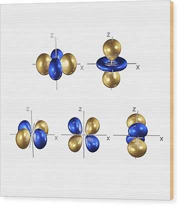 3d Electron Orbitals Wood Print by Dr Mark J. Winter