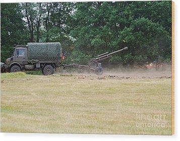 A Belgian Artillery Unit Setting Wood Print by Luc De Jaeger