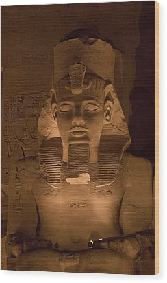A Close View Of Ramses IIs Temple Wood Print by Taylor S. Kennedy