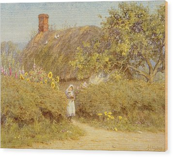 A Surrey Cottage Wood Print by Helen Allingham