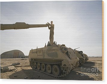 A Us Army Mechanic Uses A M113 Wood Print by Terry Moore