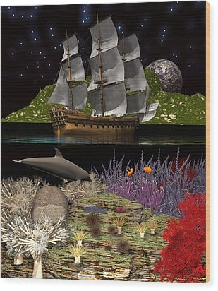 Wood Print featuring the digital art Above And Below by Claude McCoy