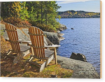 Adirondack Chairs At Lake Shore Wood Print by Elena Elisseeva