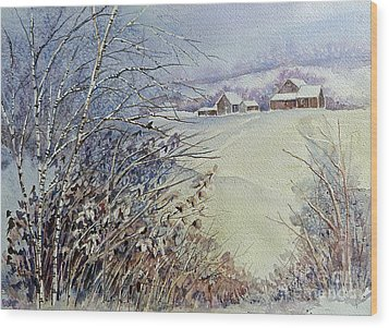 After The Snowfall Wood Print by Louise Peardon