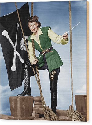 Against All Flags, Maureen Ohara, 1952 Wood Print by Everett