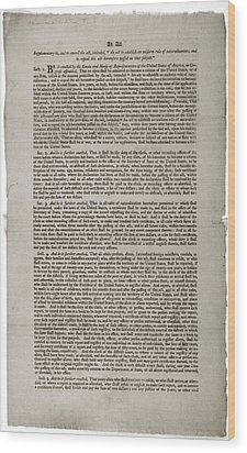 Alien And Sedition Acts Of 1798 Wood Print by Everett