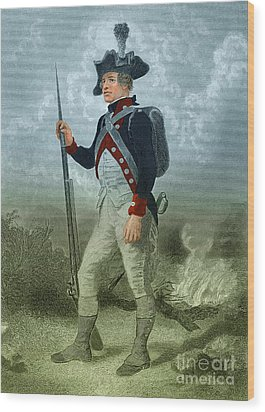 American Continental Soldier Wood Print by Photo Researchers