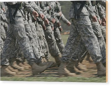 Army Rangers Marching In Formation Wood Print by Skip Brown