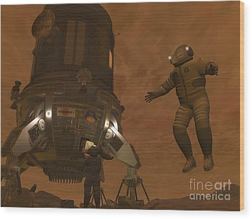 Artists Concept Of Astronauts Exploring Wood Print by Walter Myers