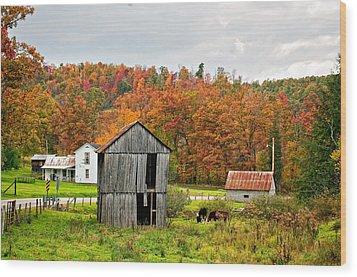 Autumn Farm Wood Print by Steve Harrington