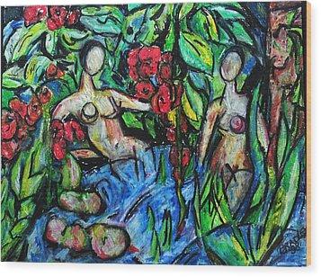 Bathers 98 Wood Print by Bradley Bishko