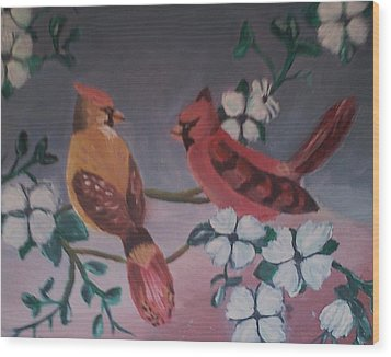 Wood Print featuring the painting 2 Birds by Christy Saunders Church