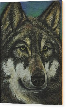 Blue Wolf Wood Print by Lucy Deane
