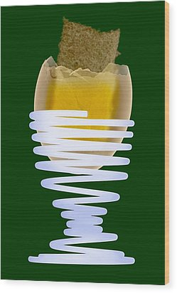 Boiled Egg In An Eggcup, X-ray Wood Print by D. Roberts