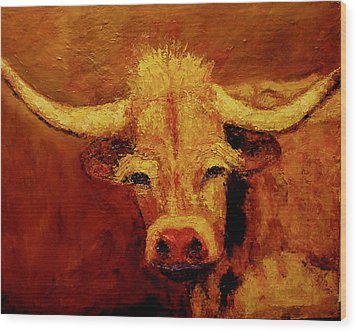 Bull Wood Print by Marie Hamby