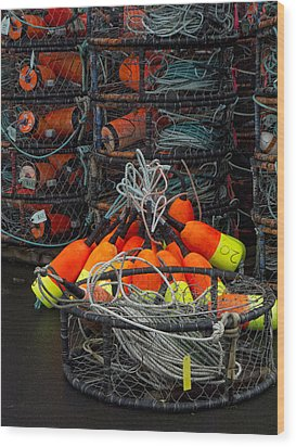 Buoys And Crabpots On The Oregon Coast Wood Print by Carol Leigh