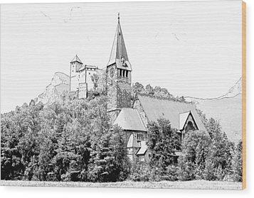 Burg Gutenberg And Church Balzers Liechtenstein  Wood Print by Joseph Hendrix