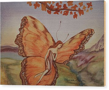Wood Print featuring the painting Butterfly by Teresa Beyer