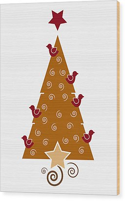 Christmas Tree Wood Print by Frank Tschakert